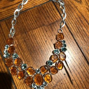 Baltic amber and blue topaz 16-18 inch necklace